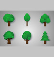 set of trees paper art style vector image vector image