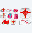 set various realistic valentine gift vector image vector image