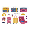set with travel stuff luggage bags suitcases vector image vector image