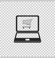 shopping cart on screen laptop vector image vector image