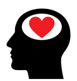 silhouette head with heart symbol vector image vector image