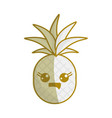 silhouette kawaii cute thinking pineapple vector image vector image