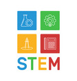 stem word with science outline icons vector image