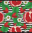 striped seamless pattern pomegranate strawberry vector image