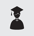 Students In Graduation Gown And Mortarboard vector image