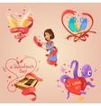 Valentine day retro cartoon set vector image vector image