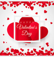 valentines day postcard two big hearts in white vector image vector image