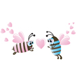 valentines day two bee and hearts vector image vector image