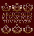 vintage monogram kit golden letters and frames vector image