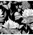 Vintage pond water flowers seamless pattern vector image