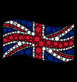 waving united kingdom flag collage of six pointed vector image