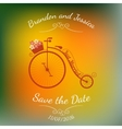 Wedding retro bicycle with basket of flowers over vector image vector image