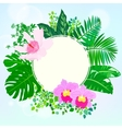 Round card with tropical elements of decor vector image