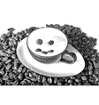Drawn Sketch painting coffee cup with beans vector image