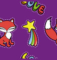 seamless pattern with cute fox and other stickers vector image