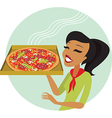 pizza girl vector image