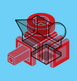 3d engineering abstract shape made using cubes vector image vector image