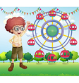 A happy teenager near the ferris wheel vector image vector image