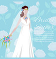 beautiful bride holding a bouquet for wedding vector image vector image