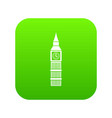 big ben clock icon digital green vector image vector image