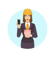 businesswoman in construction helmet holding a vector image vector image