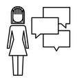 businesswoman with speech bubbles communication vector image
