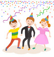 celebrating the birthday cute cartoon boy vector image vector image