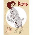 chinese zodiac symbol of etching ram vector image