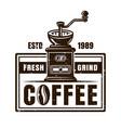coffee shop vintage emblem with grinder vector image vector image
