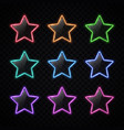 colorful neon star badges set glowing colored vector image vector image