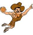 cowboy sports basketball logo mascot vector image vector image