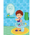 cute smiling little boy in underwear brushi vector image