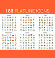 flat thin line design icons vector image vector image