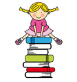 Girl jumping some books vector image