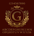 golden letters and numbers with initial monogram vector image vector image