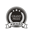 grand prize award monochrome round promo logotype vector image vector image