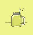 green smoothie in vintage mug vector image