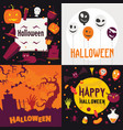 halloween banner set flat style vector image