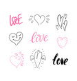 hand drawn cute hearts valentine day design vector image vector image