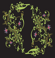 hand drawn of twig with flowers and leaves baroque
