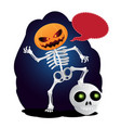 happy cartoon skeleton with pumpkin instead of vector image vector image