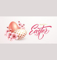 happy easter greeting background with realistic vector image vector image