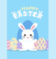 happy easter greeting card with bunny and egg vector image vector image