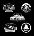 happy halloween black and white design set vector image