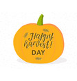 happy harvest lettering with wheat orange pumpkin vector image