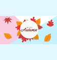 hello autumn falling leaves circle frame backgroun vector image vector image