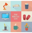 Home workplace icons set vector image vector image