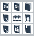 isolated books icons set vector image