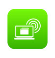 laptop and and wireless icon digital green vector image vector image