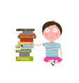 little boy sitting by pile of books vector image vector image